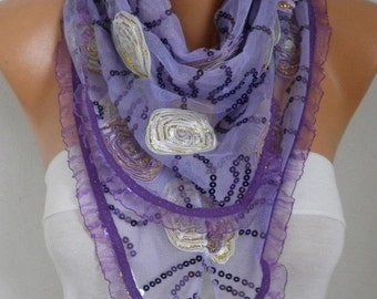 ON SALE --- Lilac Lace Floral Sequin Scarf - Wedding Shawl, Cowl Scarf, Lace Edge, Bridesmaid Gift,Gift Ideas for Her, Women Fashion