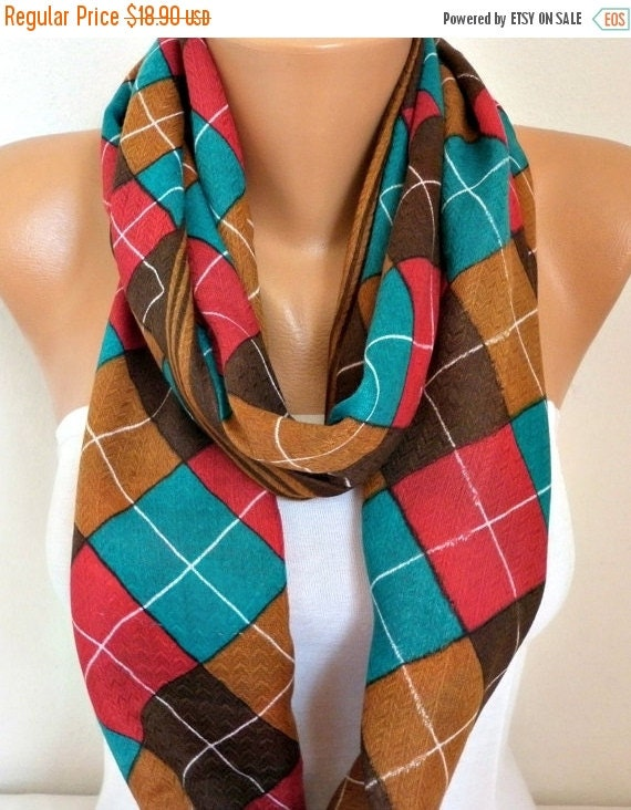 ON SALE --- Teal & Brown Plaid Cotton Infinity Scarf,Tartan Scarf, Cowl Scarf, Circle, Loop Oversized Gift Ideas For Her, Women Fashion Acce