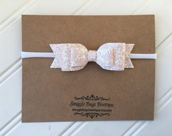 Baby Pink iridescent Large Double Layer Glitter  Bow Headband  - Newborn Baby to Adult - Winter Glitter Hair Bows