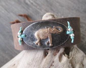Elephant rustic distressed leather Cuff bracelet - Lucky - good luck charm elephant boho by slashKnots