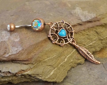 Rose Gold Turquoise Dream Catcher Belly Button Ring Rings