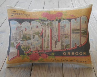 Portland Burlap Pillow , Oregon travel postcard, Vintage State Postcards, INSERT INCLUDED