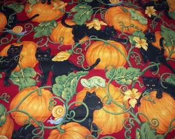 Black Cats & Pumpkins Fabric Halloween By Fat Quarter New BTFQ