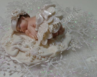 WINTER Baby Cake Toppers Made of Vanilla Fondant and gumpaste, BABY SHOWER, First Birthday boy or girl, Christening,Supplies