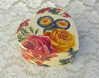 "Large Floral Paper Heart Box for jewelry, keepsakes, gifts, 6 1/2"", optional surprise engagement/anniversary ring box"
