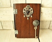Fairy door real wood and metal magic wall art upcycled bamboo floor sample with key/ free shipping US