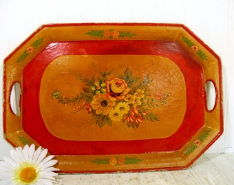 Antique Enameled Paper Mache Floral Large Vanity Tray - Vintage Jerywil Hand Painted Colorful Very Shabby Chic / BoHo Bistro Display Platter