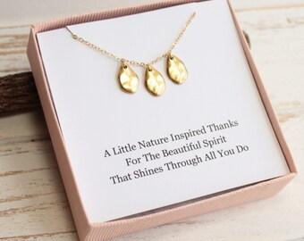 Golden Petals Necklace with Friendship Sentiment Card