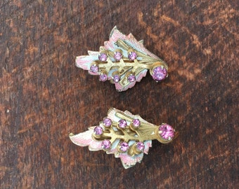 Vintage signed coro pink enamel rhinestone earrings