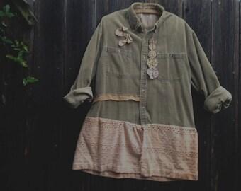 SALE soft corduroy khaki olive hand dyed lace shabby farm prairie rustic boho country XL gypsy dakota girl tunic Plus size farm  fashion