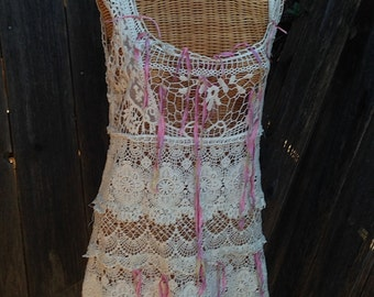 LOVE ecru shabby boho mini simple fairy eco anthropologie like cotton lace romance boho girl gypsy ooak ribbons pink tank dress tunic party