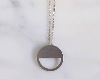 Circle pendant, stainless steel pendant, geometric pendant, handmade pendant, circle necklace, stainless steel necklace, geometric necklace