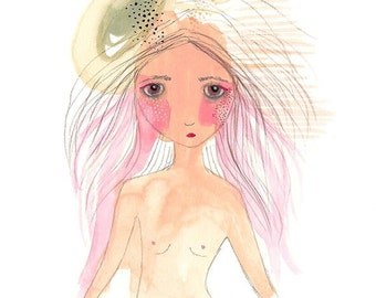 Original girl illustration bloom painting pink art