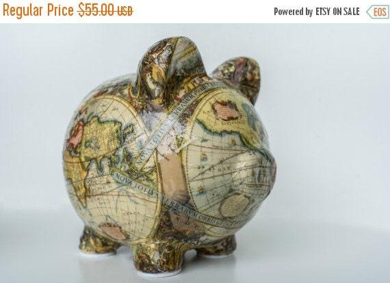 "ON SALE Piggy bank Old World Map Decoupage Ceramic Piggy Bank - ""Magellan"""