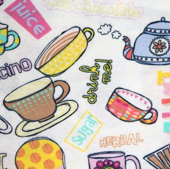 Flannel fabric,Teacups flannel fabric,Coffee cups flannel fabric,100% cotton flannel fabric,Quilt flannel fabric,Craft flannel fabric,BTY
