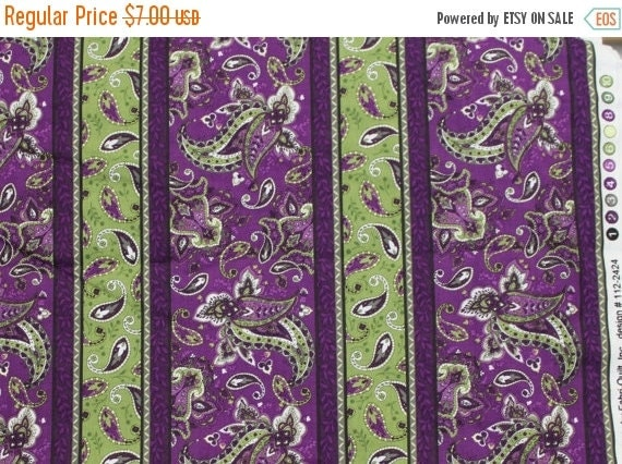 Purple and green fabric,Paisley fabric,St. Croix fabric,100% cotton fabric,Quilt fabric,Apparel fabric,Craft fabric,Fabric by The YARD