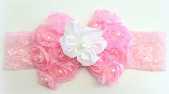 Pink and White Headband/Girls Headband/Baby Girls Headband/Newborn Headband/Baby Headbands/Baby Girls Headband/Lace Headband/Bow Headband