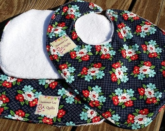 SALE - 15% OFF - Baby Girl Bib and Burp Cloth Set - Modern Red White Blue and Navy Bib and Burp Rag Set - Ready to Ship
