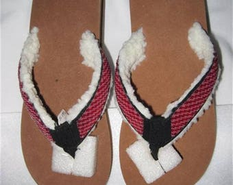Flip Flops..Beaded...Black..Medium..Hand Made...One Of A Kind...Never To Be Duplicated