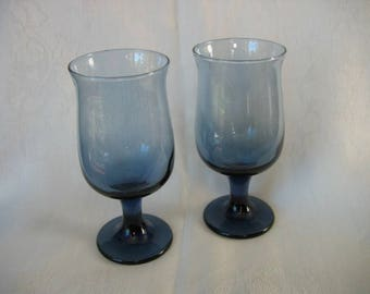 Pair of Vintage Libby Tulip Footed Goblet/Water Glasses in Dusky Blue
