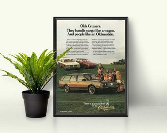 Cutlass Cruiser By Oldsmobile Ad • Retro Woodie Car • Car With Wood Paneling • Vintage Soccer Mom Car • I Love Oldsmobile • Vintage Wagon Ad