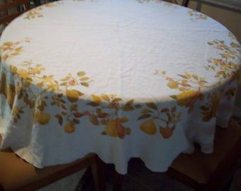 "Vintage 64"" Round Pear Fruit and Leaves Tablecloth by Luther Travis"