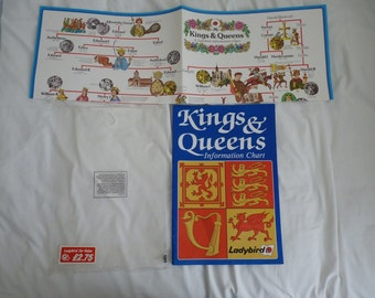 Vintage Ladybird Kings and Queens information wall chart with orginal bag 1980