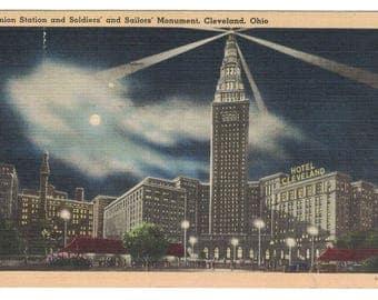 "Ohio, Vintage Postcard, ""Union Bridge and Soldiers' Monument, Cleveland, Ohio,"" 1947, #1082."