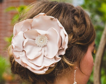 Flower Hair Clip | Wedding Hair Accessory  | Bridal Hair Piece | Bridesmaid Hair Clip | Custom | Jeweled Center | Blush Flower