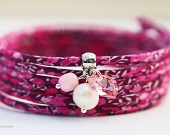 Liberty of London & Swarovski Freshwater Pearl Wrap Bracelet Feminine Floral Jewellery