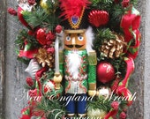 FREE SHIP THRU 12/12/16, Christmas Wreath, Holiday Swag, Nutcracker Wreath, Elegant Christmas Swag, Designer Holiday, Whimsical Christmas