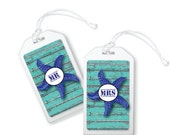 Mr and Mrs Luggage Tag Starfish Bag Tag Cruise Luggage Tags Starfish Luggage Tag Wedding Luggage Tags Mr and Mrs Gifts Travel Tags Set of 2