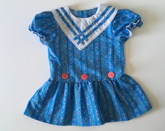 1980's Blue Floral Drop Waist Dress (2t)