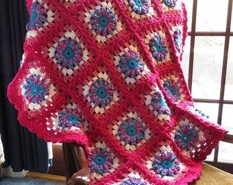 "Lap or Baby Blanket Afghan - Hand Crochet Textured Pinks Turquoise - Car Stroller Crib Stadium Wheelchair Hospice - 39""x39"" - Item 4830"