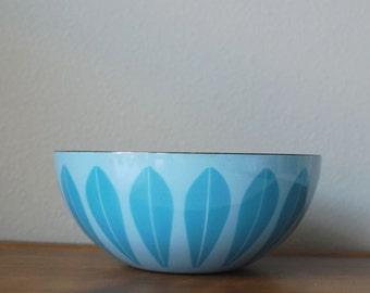 "Cathrineholm 9.5"" Blue on blue lotus enamel bowl Norway"