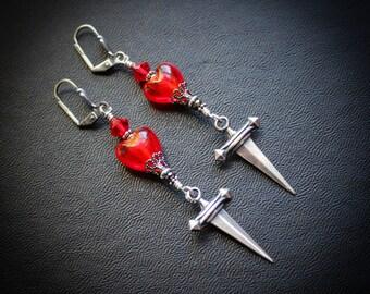 Dagger Heart Earrings.  Long Statement Earrings.  Joan of Arc.