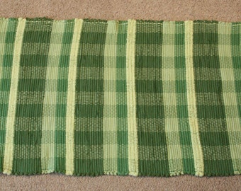 Handwoven Rag Rug - Brilliant Green Stripes - 51 inches....(#158)