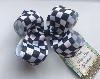 Checker flag racing hair bow - 4 in boutique hair bow