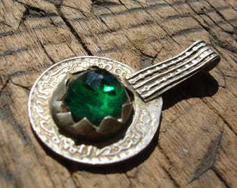 Moroccan green jewel tarnished 10 franc coin pendant with decorated  loop/bail
