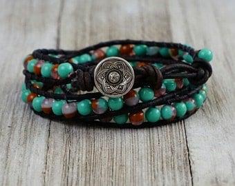 Wrap bracelet, triple wrap bracelet, beaded bracelet,leather bead bracelet,leather wrap bracelet,turquoise and red bead bracelet, boho chic