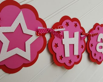 American Girl Birthday banner. American Girl Birthday Decorations. Star Banner. Red and Pink Banner.  Happy Birthday Banner. Girl Banner