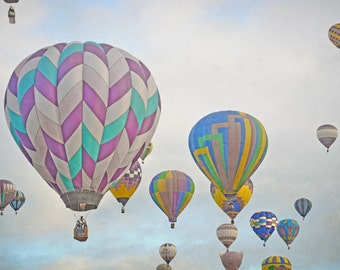 Hot Air Balloons Photography Print Fine Art New Mexico Balloon Fiesta Whimsical Sky Clouds Landscape Photography Print.