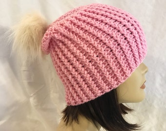 hat with faux fur pom pom,slouch,beanie,hat,hand crochet,made to fit teen and adults,light pink with faux fur pom pom