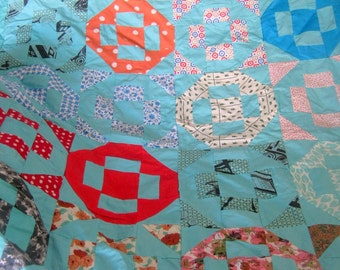 Unfinished Quilt Top Blue with Symmetrical Blocks, Vintage