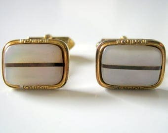 Gold Tone Mother Of Pearl oblong Cufflinks