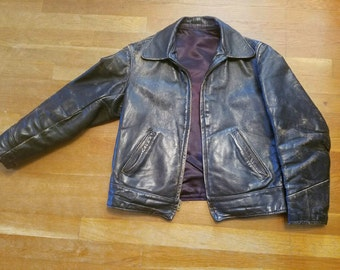 LEATHERBOYS--Killer 1950s Dark Brown Calfskin Leather Jacket with Perfect Patina-S