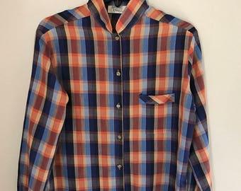 Ladies Vintage Plaid Button Up Blouse 70s Boho Plaid Top Stuart Lang