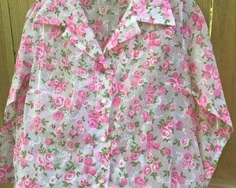 Vintage Midcentury Sheer Floral Blouse / 60s Pink Floral Blouse