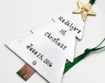 Baby's First Christmas Ornament - Christmas Ornament - Hand Stamped Personalized Ornament First Christmas Stamped Metal Tree Ornament (801)