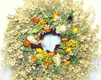Pennycress Wreath,  Fall Dried Floral Wreath, Dried Flower Wreath